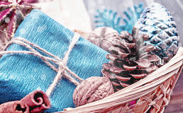 Basket with Christmas presents Royalty Free Stock Image