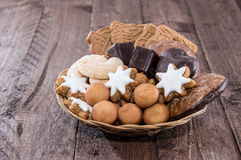 Basket with Christmas Sweets Stock Photos