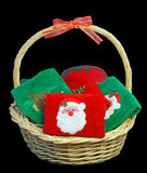 Basket of Christmas towels Royalty Free Stock Photos