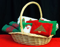 Basket of Christmas towels Royalty Free Stock Photography