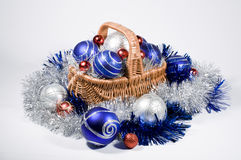 Basket with Christmas toys Royalty Free Stock Photo