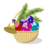 Basket with Christmas toys. Basket with colorful Christmas decorations and pine branches  on white background, vector illustration Stock Photography