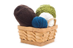 Basket with clews. Basket with balls of yarn stock photos