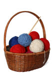 Basket of clews. Basket of clews for knitting Royalty Free Stock Photo
