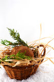 Basket with coconut Stock Images
