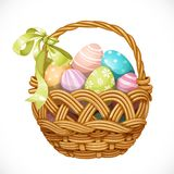 Basket with color Easter eggs  on a white Royalty Free Stock Photography