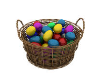 Basket with colored eggs Royalty Free Stock Photography