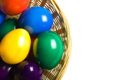 Basket of colored eggs Royalty Free Stock Photo
