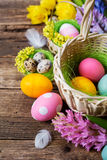 Basket with colored eggs Stock Photos