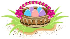 Basket with colored eggs is standing on green grass Royalty Free Stock Photos