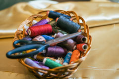 Basket with colored Royalty Free Stock Photos