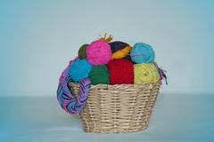 Basket with colored woolen threads for knitting Stock Photos