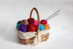 Basket with colored yarn balls stock photos