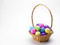 Basket Of Colorful Easter Eggs Royalty Free Stock Photography