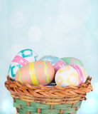 Basket of Colorful Easter Eggs Royalty Free Stock Image