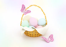 Basket with colorful Easter eggs Royalty Free Stock Photography