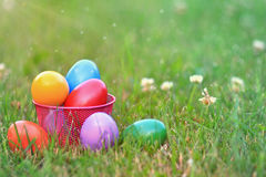 Basket of Colorful Easter Eggs Stock Photography