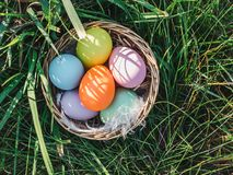 Basket with colorful Easter eggs standing on the green grass royalty free stock photos