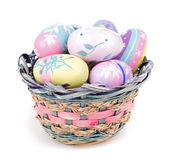 Basket of Colorful Easter Eggs Stock Photo