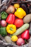 Basket of colorful fruits and vegetables royalty free stock images