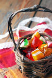 Basket with colorful sweet candies. Selective focus. Traditional candies for Seker Bayram holiday royalty free stock image