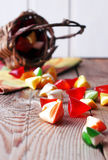 Basket with colorful sweet candies Stock Photo