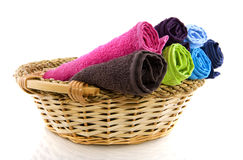 Basket with colorful towels Stock Photography