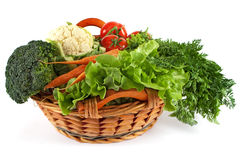 Basket with colorful vegetables Royalty Free Stock Images