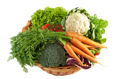 Basket with colorful vegetables. Freshly from the market isolates before white background Stock Photo