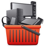 Basket with computer devices. Illustration of shop basket with computer devices Stock Photography