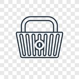 Basket concept vector linear icon isolated on transparent background, Basket concept transparency logo in outline style vector illustration