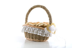 Basket of cookies. On a white background, isolated Stock Photos