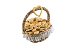 Basket of cookies. On a white background, isolated Stock Photo