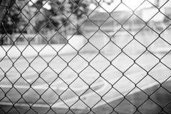 Basket court fence black & white Royalty Free Stock Image