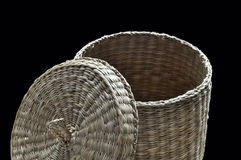 Basket cover widely opened. A basket made of reed with cover widely opened Royalty Free Stock Photography