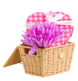 Basket with crocus flowers  and gift box Royalty Free Stock Images