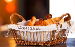 Basket with croissants Royalty Free Stock Image