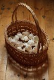Basket of crushed egg shell Royalty Free Stock Photography