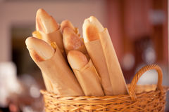Basket of crusty baguettes. In the caffee Royalty Free Stock Image