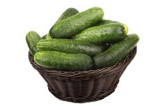 Basket with cucumbers Royalty Free Stock Photography