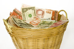 Basket of currencies 2. A basket of different currencies Stock Images