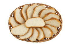 Basket with Cut loaf of bread Royalty Free Stock Photos