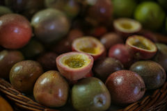 Basket of dark red Passion fruit Royalty Free Stock Images