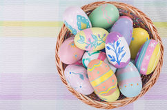 Basket of Dcorated Easter Eggs Stock Photo