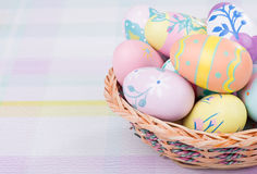 Basket of Dcorated Easter Eggs Royalty Free Stock Image