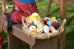 Basket Of Decorated Easter Eggs In basket Stock Photos