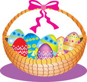 Basket of decorated Easter eggs royalty free illustration