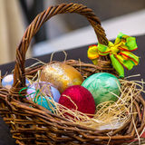 Basket with decorated eggs for Easter Stock Photography