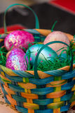 Basket with decorated eggs for Easter Royalty Free Stock Images
