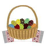 Basket on a decorative towel. In it are Easter eggs with painted ornaments. The symbol of Easter. An ancient tradition of people. stock illustration